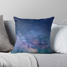 'Celestial Dream' Throw Pillow by augustinet Diy Pillows, Floor Pillows, Pink Glitter Background, Kawaii Shop, Designer Throw Pillows, Pillow Design, Night Skies, Home Deco, Artists
