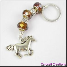 European Horse Charm Style Keychain Car Accessories Amber Crystal and Tibetan Silver Spacers Key Chain TAGS - Accessories, Keychains, Keychain, carosell creations, key chain, European Beads, car accessories, European Charm, horse, horse keychain, horse key chain, horse charms, amber crystal, livestock jewerly, horse jewelry, etsy, handmade