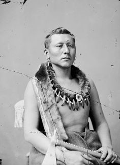 Nah~Kea~pu~At~Sea {One Who Reaches the Sky} Photographed in 1877 ~ Wearing a bear claw necklace ~
