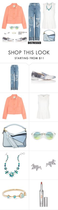 """""""Distressed Jeans"""" by musicfriend1 ❤ liked on Polyvore featuring SJYP, Esquivel, Maje, 321, Loewe, Anne Klein, CARAT* London, WWAKE and Benefit"""
