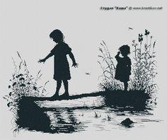 "Scheme ""Girls on the River"" | cross-stitch from the studio ""Kosh"""