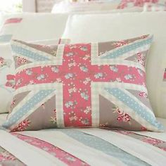 Ballerina Shabby Patchwork Chic Blue Pink Union Jack Filled Cushion | eBay