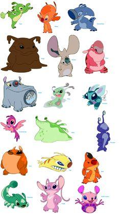 Lilo and Stich- Creatures Angel Lilo And Stitch, Lilo En Stitch, Arte Disney, Disney Art, Disney Pixar, Stitch Cousins, Lilo And Stitch Experiments, Bane Batman, Disney Stich
