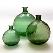 "NANNY STILL - Glass bottles ""Neptuna"" designed in 1964 for Riihimäen Lasi Oy, in production Finland."