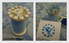 Stempel aus Garnrolle, Zeichenblock-Pappe und Kleintierstreu-Verpackungsfolie