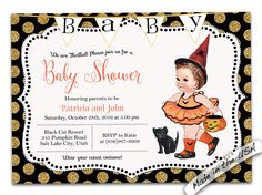 A personal favorite from my Etsy shop https://www.etsy.com/listing/248170607/halloween-girl-baby-shower-invitation
