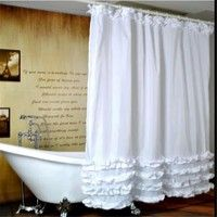 Wish   Home Bathroom Shower Curtain Waterproof Lace Decor Mould-proof Bathroom Cover with 12Pcs Hooks