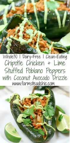 Paleo - These Chipotle Lime Chicken Stuffed Poblano Peppers are a Mexican fiesta in your mouth. Paleo and - It's The Best Selling Book For Getting Started With Paleo Paleo Whole 30, Whole 30 Recipes, Clean Eating, Healthy Eating, Paleo Recipes, Mexican Food Recipes, Paleo Food, Paleo Pizza, Paleo Ideas