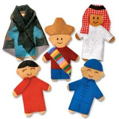 @WorldCrafts {World Finger Puppet Set B ~ Lifetouch Artistry ~ Indonesia} These five finger puppets are made by local artisans in Indonesia and represent China (blue boy and red girl), Saudi Arabia, Egypt, and Mexico.  Helps women afford groceries and schooling for their children. #fairtrade