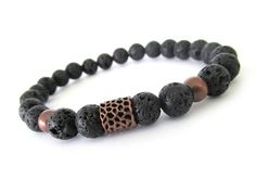 Black Lava Rock Men's Bracelet Men's Jewelry by RockAndHardware