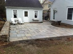 Natural Cleft Flagstone Patio Set In Stone Dust W/ Sitting Wall In Old Moss  Ledgestone