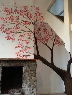 This pretty blossom tree mural was painted under the stairs in a farm house. The inspiration for this mural came from the recent film adaptation of Paddington bear.