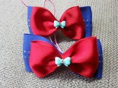 blue & red ribbon bow with cubic blue ribbon cabochon ponytail pair ,hair ties p112