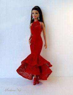 Barbie Gowns, Barbie Dress, Barbie Barbie, Vintage Barbie Clothes, Crochet Doll Clothes, Barbie Furniture, Barbie World, Crochet Fashion, Fashion Photo