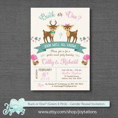 Buck or Doe Gender Reveal Invitation Printable Green and Pink, Deer, Winter Wonderland, Woodland Animals, Forest Animals, #invitation #winter #genderreveal