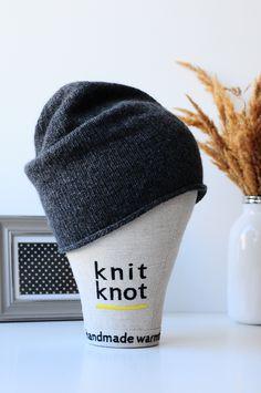 Gray beanie. Knitted hat. Темно-серая вязаная шапка. Шапка унисекс. Состав: шерсть мериноса + кашемир