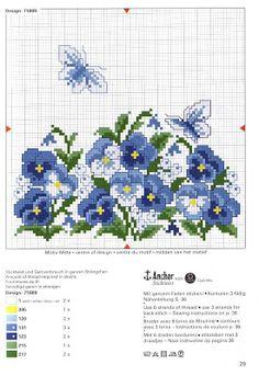 Blauwe viooltjes - kruissteekpatroon