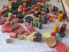 Vintage Game Pieces by castawaythoughts on Etsy, $15.00 Board Game Wedding, Wedding Games, Fall Boards, Assemblage Art, Game Pieces, Vintage Games, Dice, Board Games, Primitive