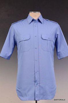 DIOR HOMME Blue Cotton Shirt NEW US 15 / EU 38 Short Sleeve 7E