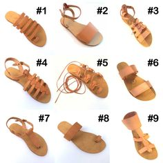Handmade Greek  Natural Leather Sandals comfortable rubber