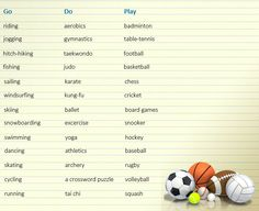 How to use Play, Do and Go with sports and activities - learn English,grammar,verb,english