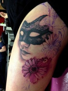 Mask and flower tattoo for girls
