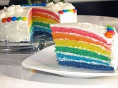 Rainbow Cake (Regenbogenkuchen/Regenbogentorte) Very easy but takes time! I chose a creamcheese filling and topped the cake once with white and once with black chocolate. Black was better!