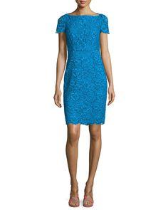Ainsley Cap-Sleeve Lace Sheath Dress, Atlantis Blue - Diane von Furstenberg