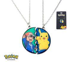 Pokemon Ash and Pikachu Necklace Set