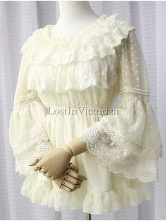 Sweet Garden Style Hime Sleeves Dotted Chiffon and Lace Lolita Blouse #LolitaBlouse #Lolita