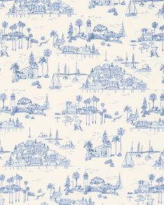 California Coast, French Blue, Linen Fabric, Terracotta, Palm Trees, Seaside, Yard, Squirrel, Patio