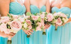 Wedding colors aqua bridesmaid bouquets Best Ideas – Famous Last Words Aqua Wedding Colors, Aqua Wedding Flowers, Wedding Color Schemes, Floral Wedding, Colour Schemes, Colour Palettes, Blue Wedding, Spring Wedding, Dream Wedding