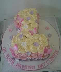 Girly and Delicious Number 1 cake with buttercream swirls for Connie's naming day