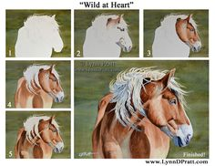 "Step by step, how to art, watercolor painting by Lynn D. Pratt ""Wild at Heart"" horse, animal"