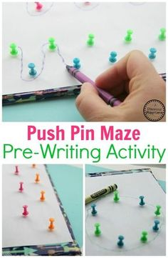 Push Pin Pre-Writing Activity for Kids - Planning Playtime This push pin maze is a FUN pre-writing activity! This game helps develop fine motor and tracing skills with preschoolers! Fine Motor Activities For Kids, Motor Skills Activities, Gross Motor Skills, Writing Activities For Preschoolers, Sensory Activities, Physical Activities, Fine Motor Activity, Pre School Activities, Writing Games For Kids