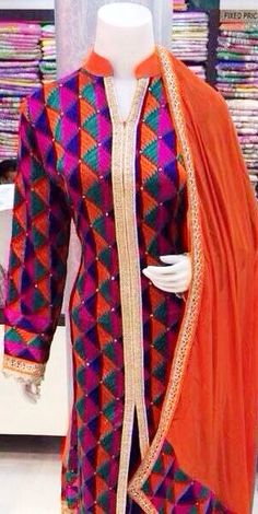 https://www.payumoney.com/store/buy/social-cultural-wellness  Traditional Multicolor Phulkari  Semi stitched suit with Dupatta. Precisely blended with the hand work of the skilled Phulkari craftsmen from Patiala and state of art machine facilities to match the latest trends .The Semi stiched suit has a ready to alter suit upper, bottom and traditional phulakri dupatta. Indian Dresses, Indian Suits, Punjabi Suits, Phulkari Suit, Saree Blouse, Ladies Suits, Suits For Women, Phulkari Embroidery, Patiala