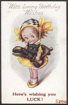 Here's Wishing You Luck! Vintage Birthday postcard by Flora White