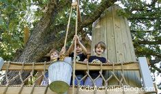 bucket pulley on tree house