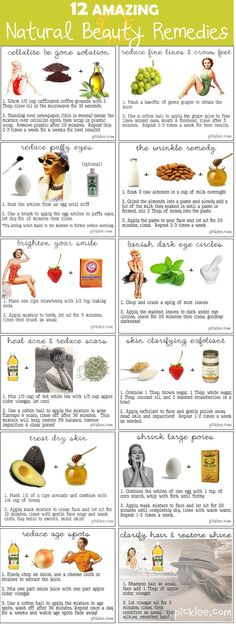 12 Beauty recipes: target puffy eyes, cellulite, wrinkles, dry skin, scars, dark eye circles, large pores, age spots...