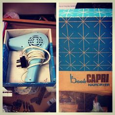 Amazingly kitsch vintage 1960's powder blue Boots Capri hairdryer with original box, for sale in our Frome charity shop!