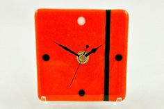 Handcrafted fused glass clock in bright orange by InMyElementGlass, $55.00