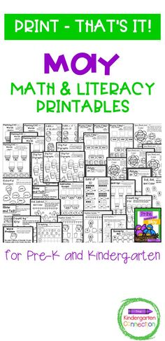 """This is the May pack in a monthly series called """"Print – that's it!"""" It contains printable math and literacy activities that are little to no prep and are geared toward kindergarten-age students. This is a great resource for your classroom and learning centers! Fun Math Activities, Math Literacy, Literacy Centers, Kindergarten Literacy, Learning Centers, Students, Classroom, Printables, Teaching"""