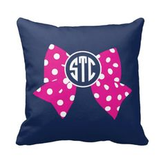 Monogrammed Bow Throw Pillow & Cover, Polka Dots, Navy Blue, Hot Pink and White or ANY COLORS 14x14, 16x16, 18x18, 20x20, 14x20, 26x26 Size