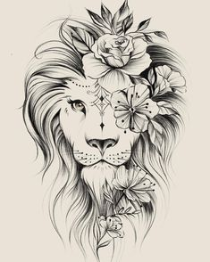 Image could contain: drawing – flower tattoos – best tattoo – flower tattoos designs - tatoo feminina Leo Tattoos, Bild Tattoos, Cute Tattoos, Beautiful Tattoos, Body Art Tattoos, Tattoos For Guys, Tatoos, Awesome Tattoos, Portrait Tattoos