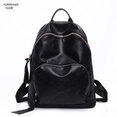 YUPINXUAN PU Leather Backpacks for Women Backpack Black Leather Back pack  School Bags For Teenage Girls 65869fade2df3