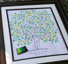 Wedding Gift Hand drawn Wedding Guest book Thumb Tree Fingerprint Tree, Guest book alternative sketched Tree wedding tree for 100-220 guests. $45.00, via Etsy.