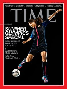 Japan's Homare Sawa covers TIME's Asia edition for the Summer Olympics special. (Photo-Illustration by Adam Pretty—Getty Images for TIME)