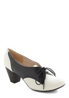Soft Serve Heel in Black by Chelsea Crew - Black, White, Mid, Lace Up, Chunky heel, Work, Menswear Inspired, 40s, Leather, Faux Leather, Variation