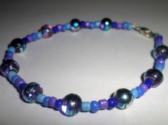 Blue and Purple Glass Bead Anklet by MandyPandyGiftShop on Etsy