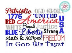 4th of July Patriotic Subway Art Machine Embroidery Design